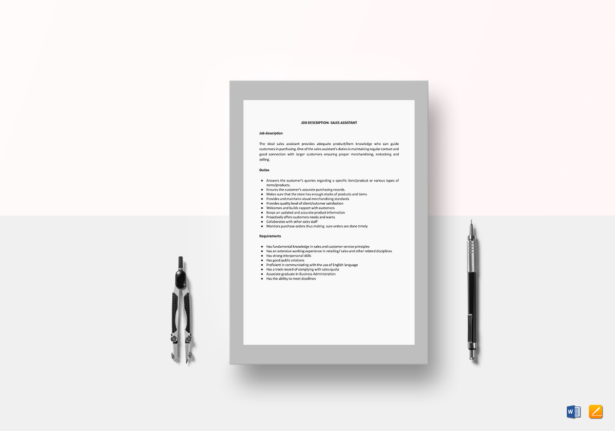 Sales assistant job description template in word google docs sales assistant job description sales assistant job description template pronofoot35fo Image collections