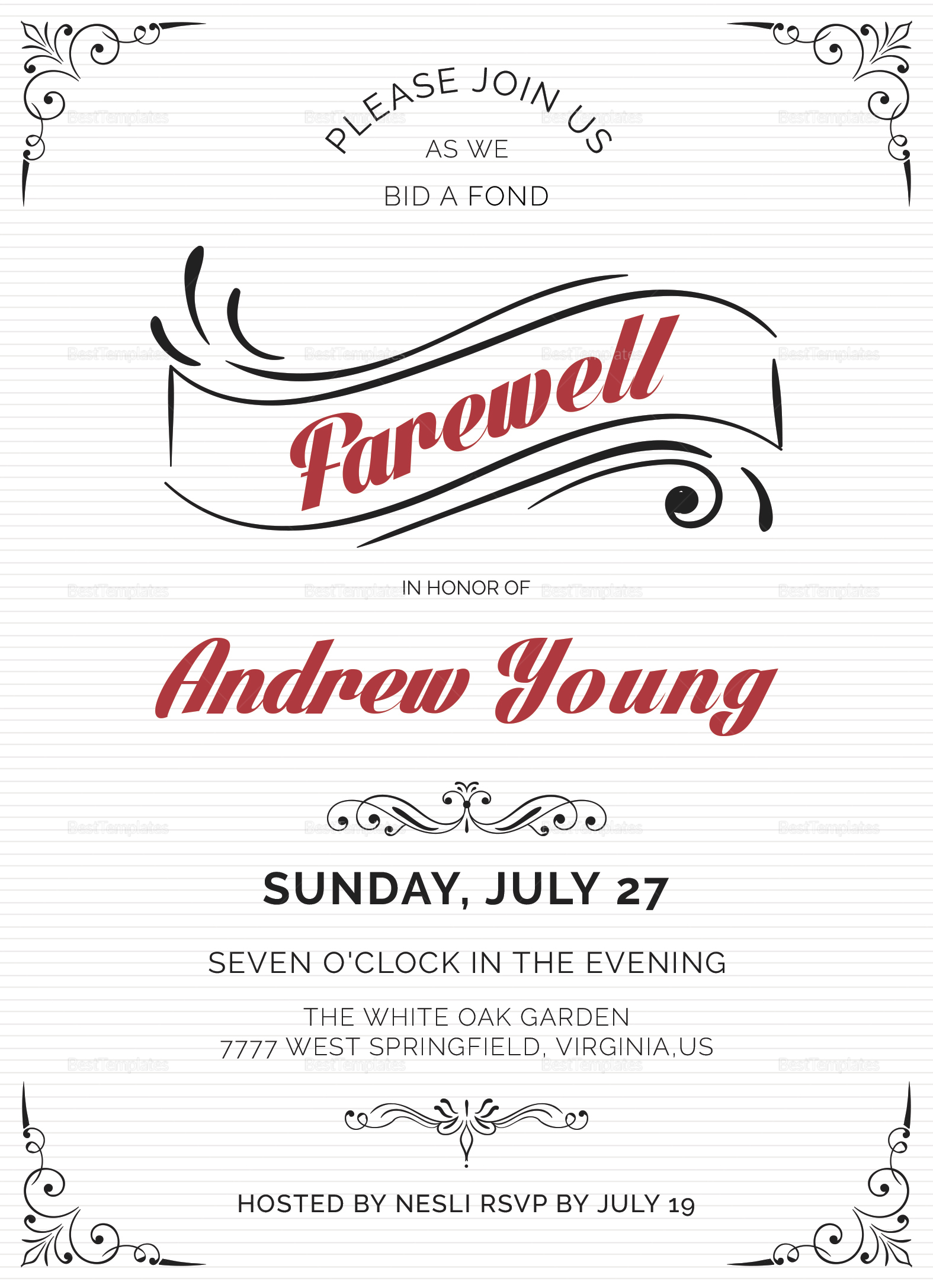 Elegant Farewell Party Invitation Design Template in Word PSD
