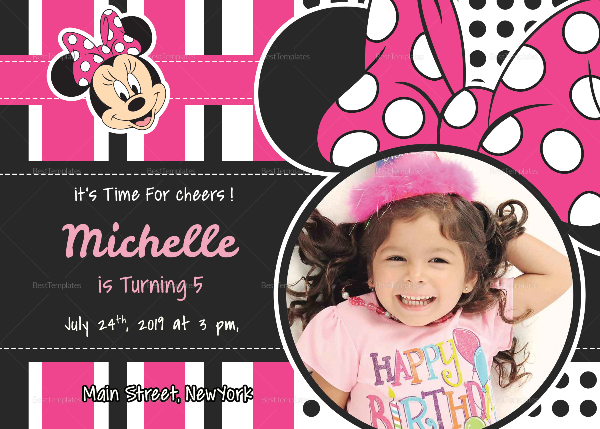 sparkling minnie mouse birthday invitation card design template in