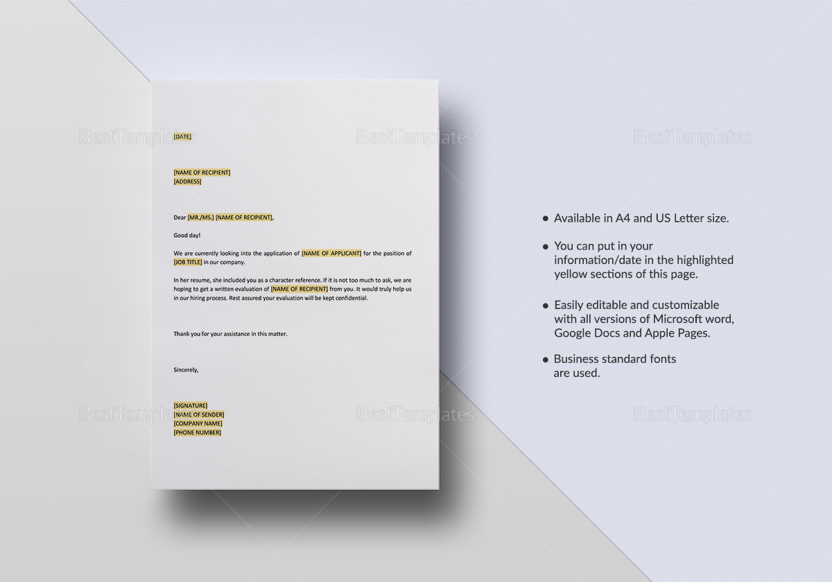 request for character reference template in word google docs apple pages. Black Bedroom Furniture Sets. Home Design Ideas
