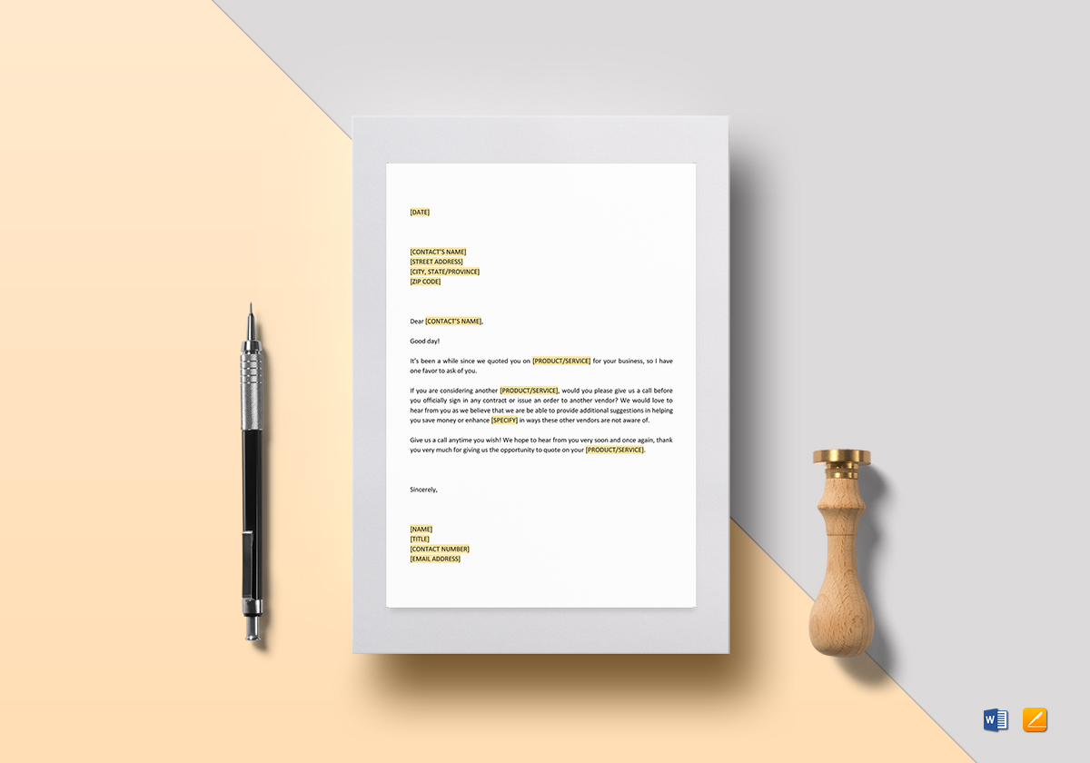 Inquiry About Last Quotation Template