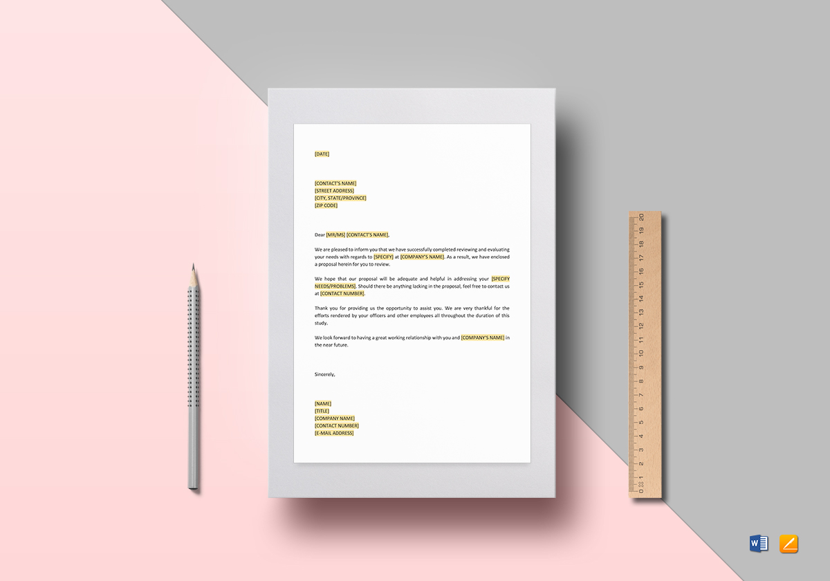 Letter Enclosing Proposal Template
