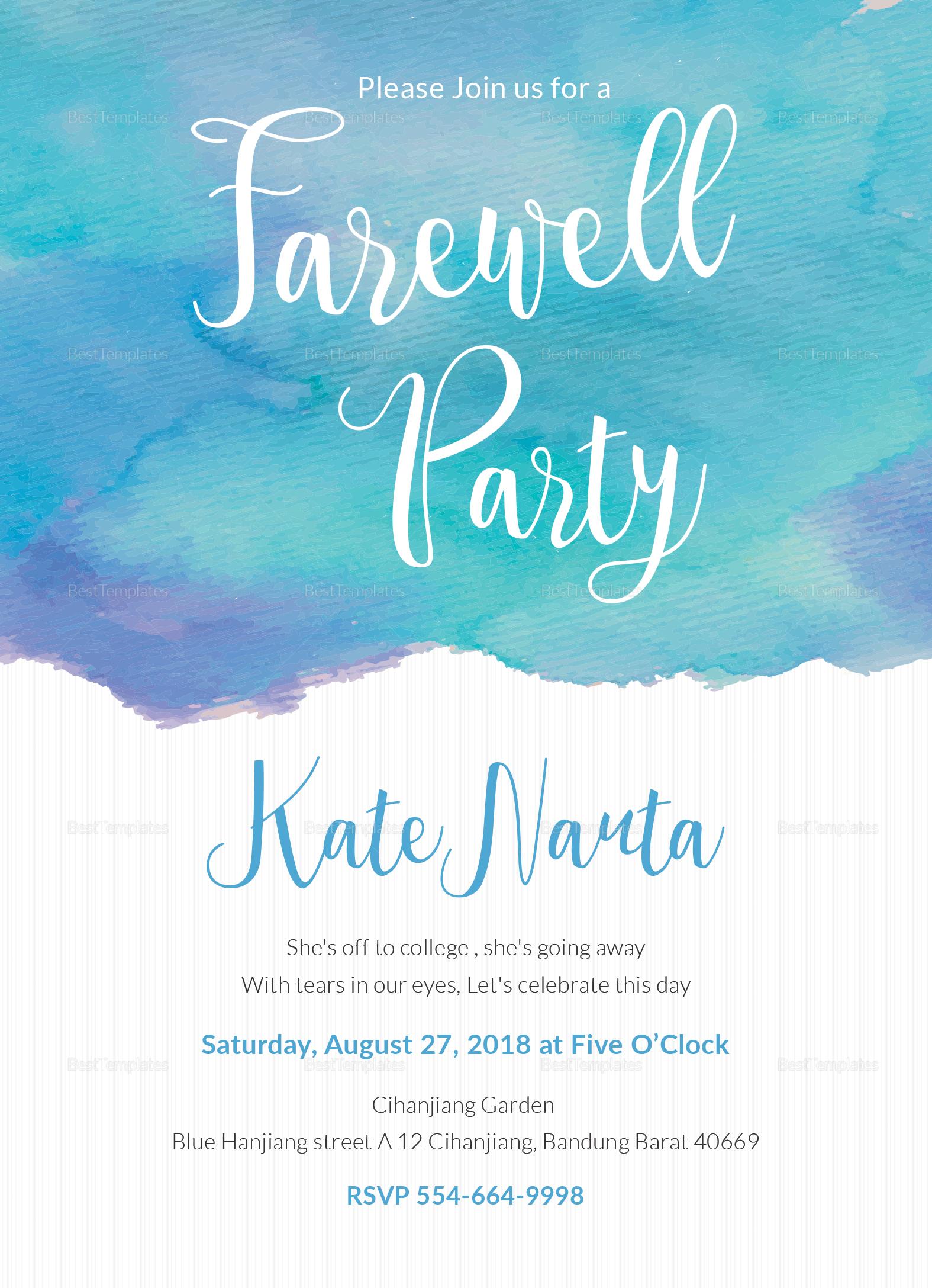 Watercolor Farewell Party Invitation Design