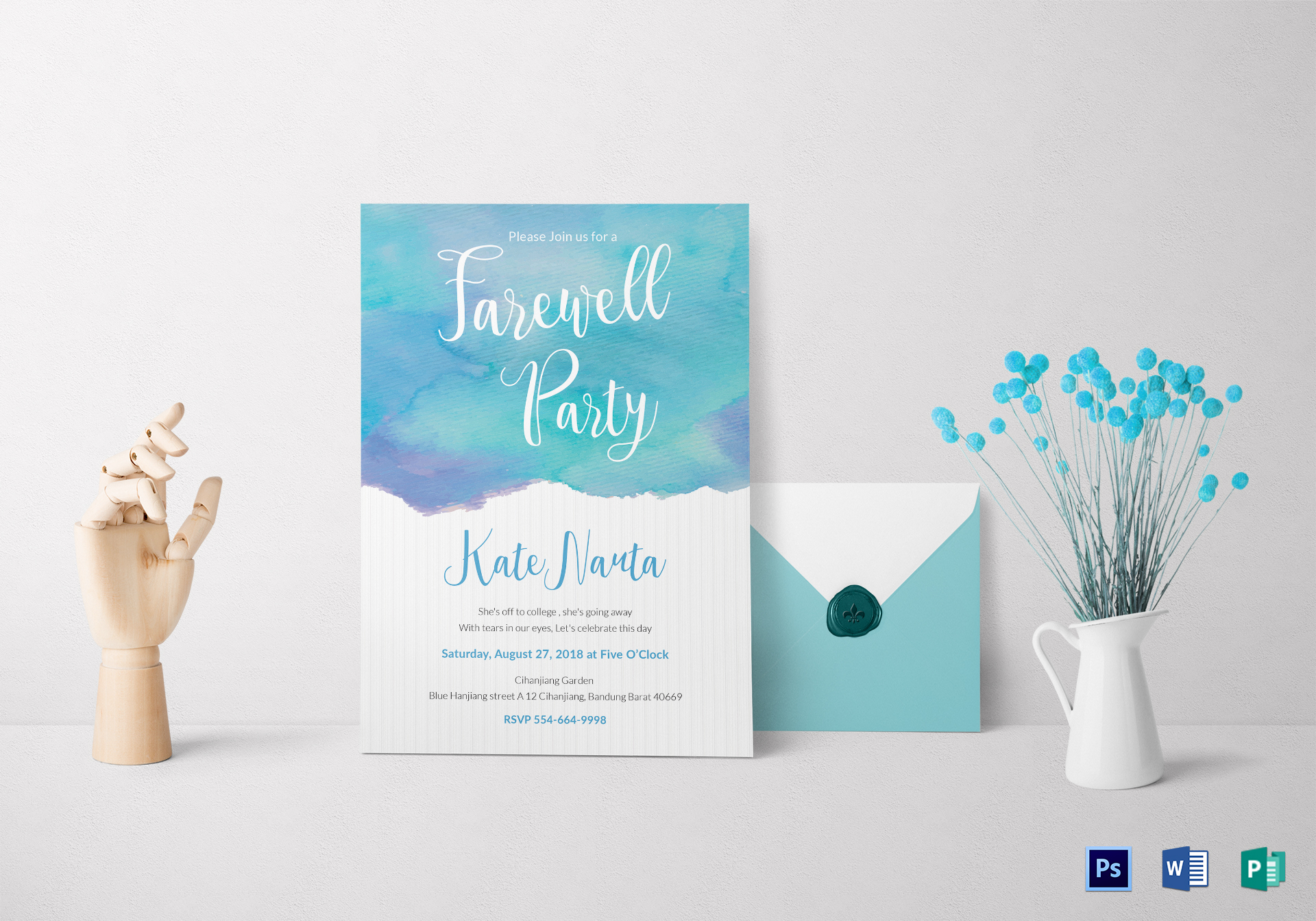 Watercolor Farewell Party Invitation ...