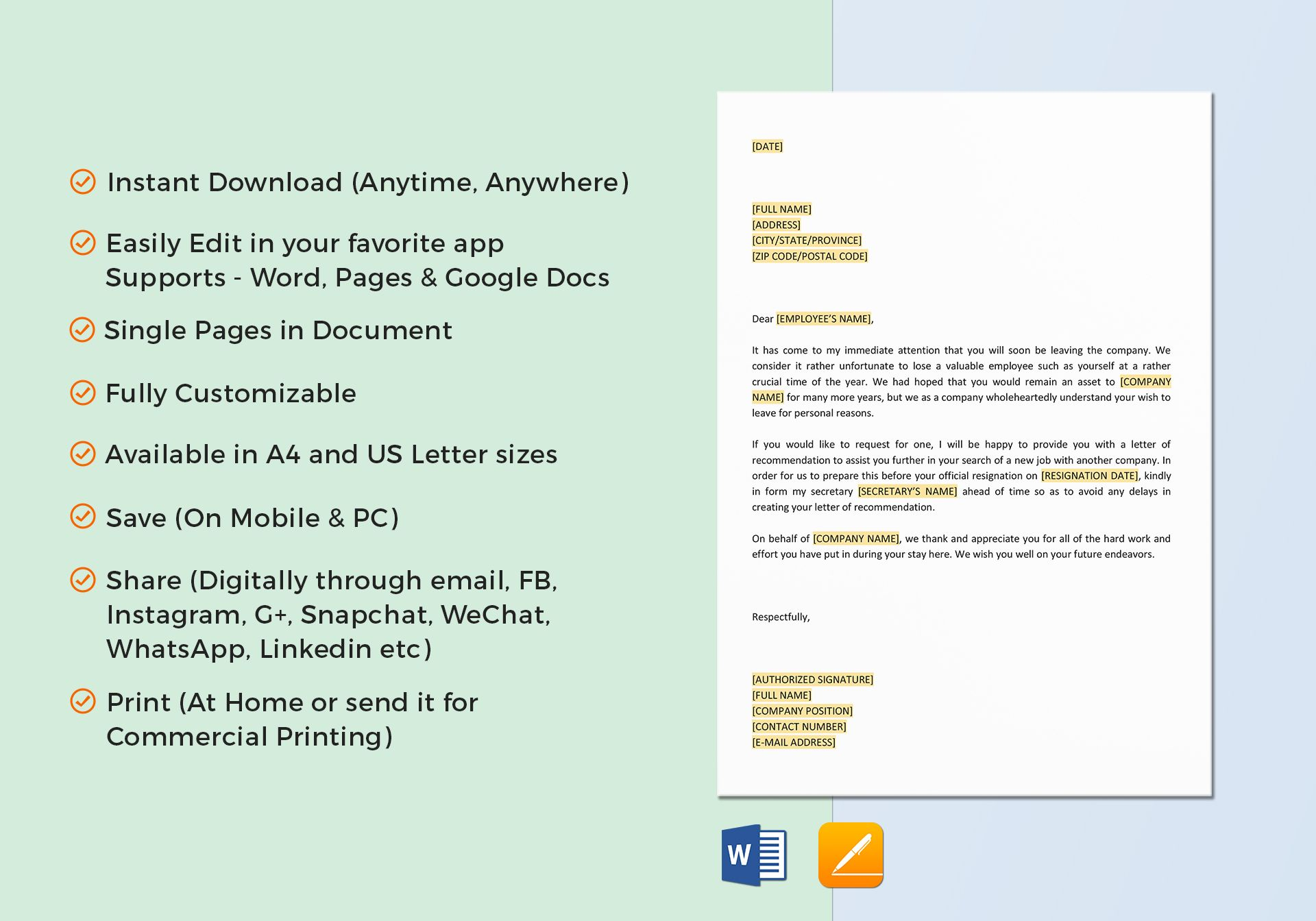 Offer Letter Of Recommendation Template In Word Google Docs Apple
