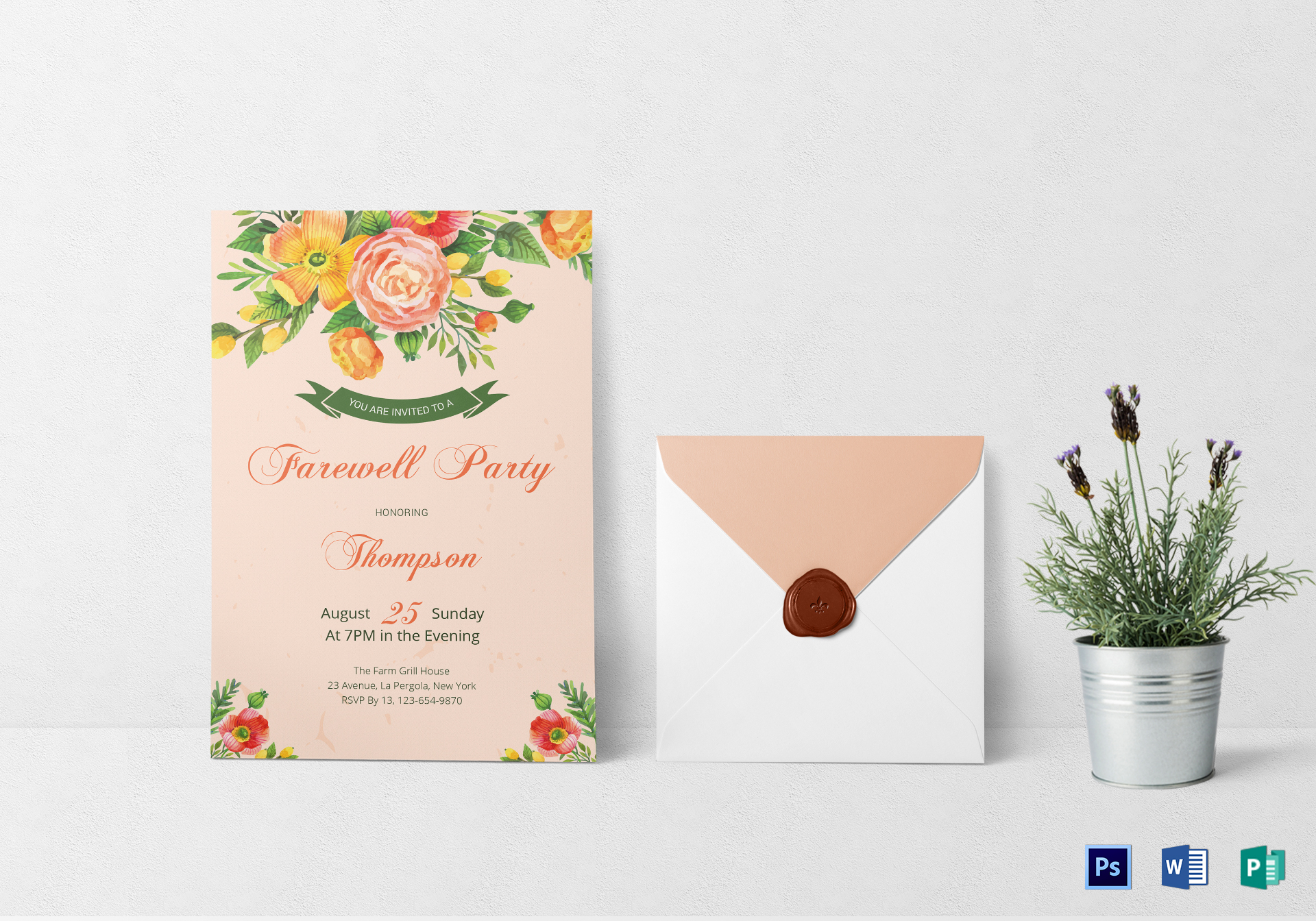 Floral Farewell Party Invitation