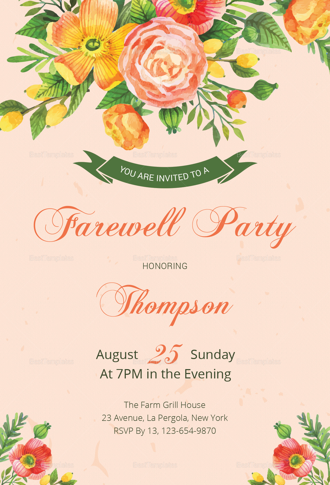 Floral Farewell Party Invitation Design