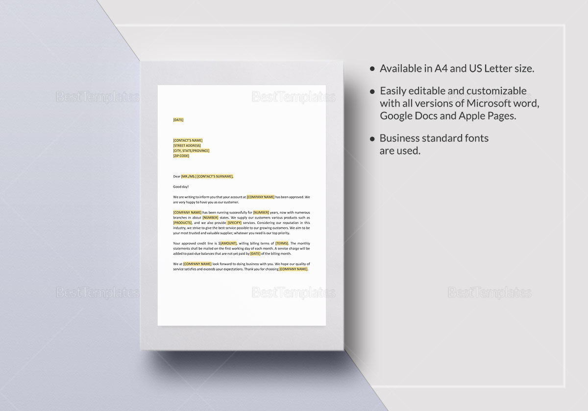 Opening New Credit Account Template
