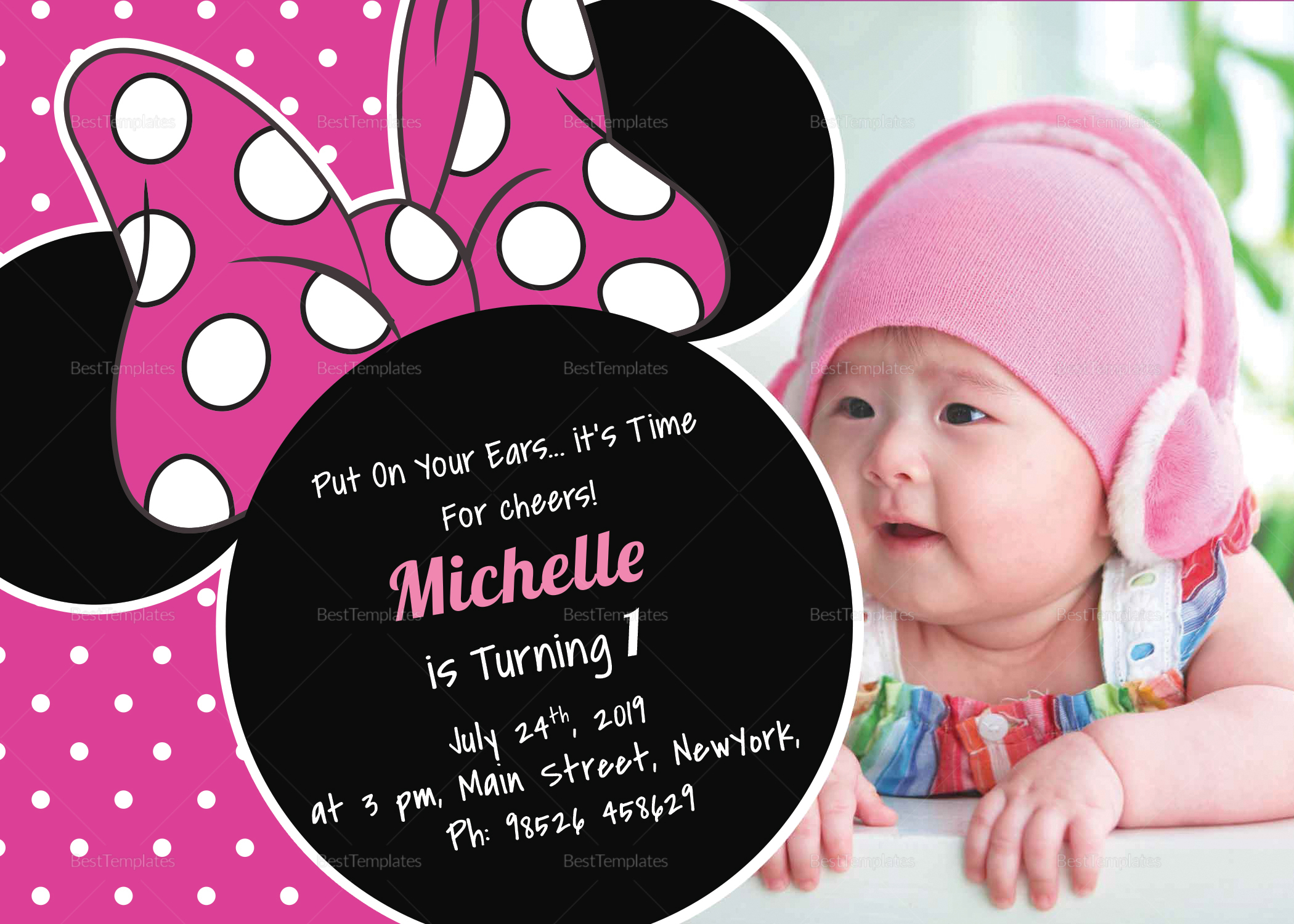 Bright Minnie Mouse Birthday Invitation Card Design Template In Psd