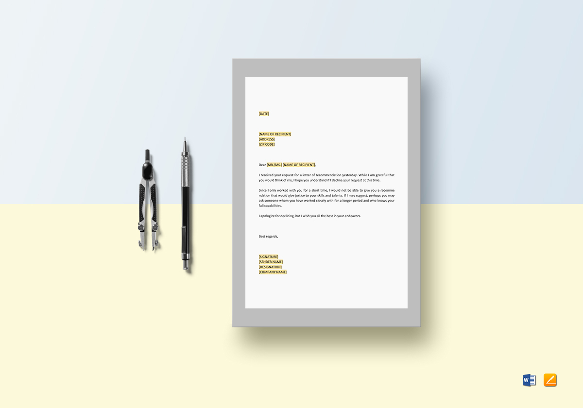 how to write a decline offer letter