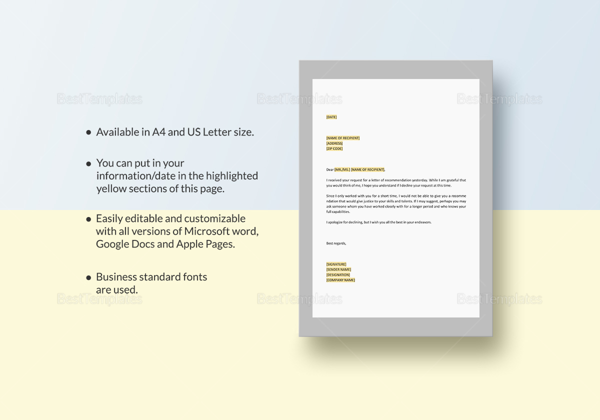 A Tactful Way to Decline to Write a Letter of Recommendation Template