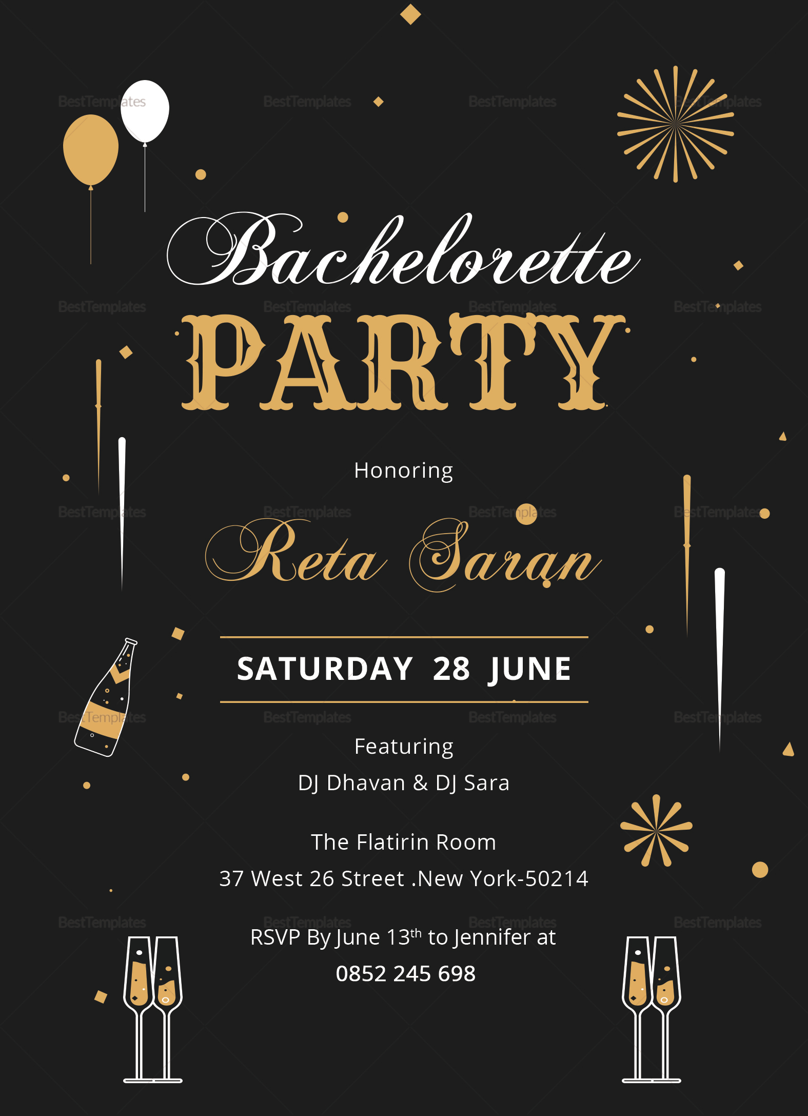 bachelorette party invitation card design template in word