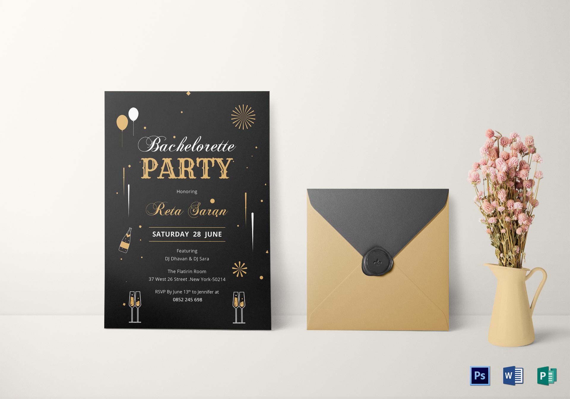 Bachelorette Party Invitation Card Template
