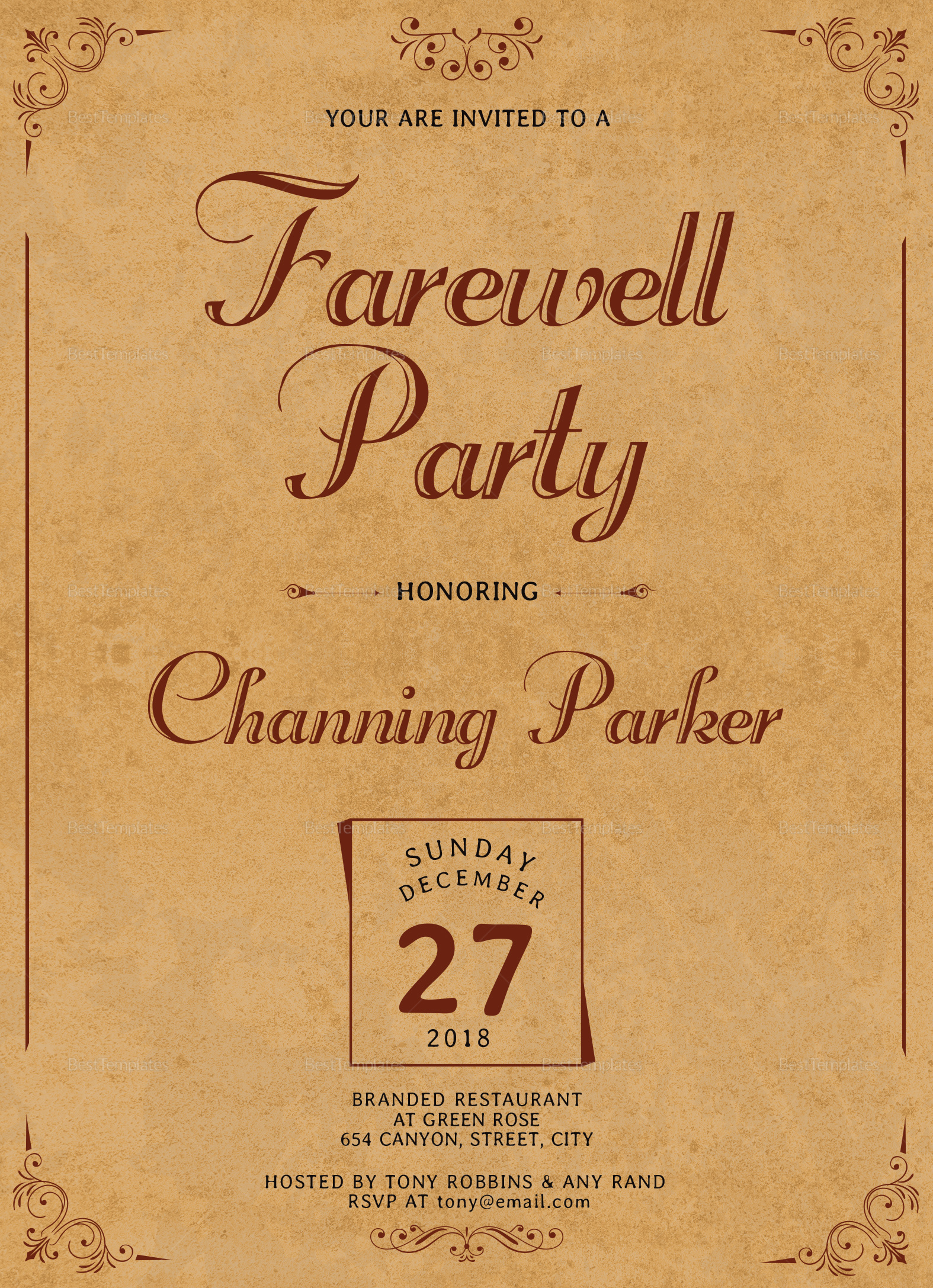 Vintage Farewell Party Invitation Design
