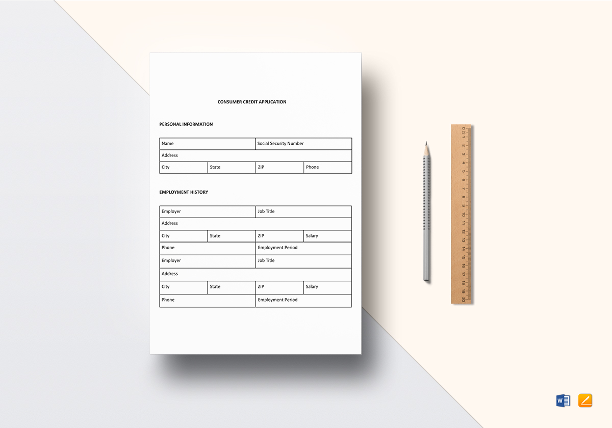 Consumer Credit Application Sample Template