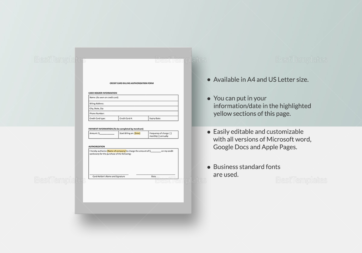 Credit Card Billing Authorization Template