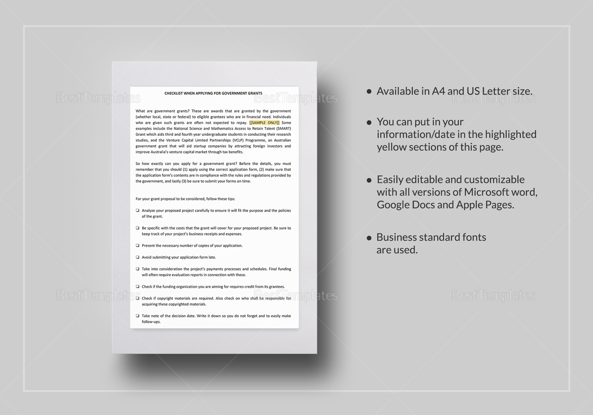 Checklist How to Apply Government Grants Template