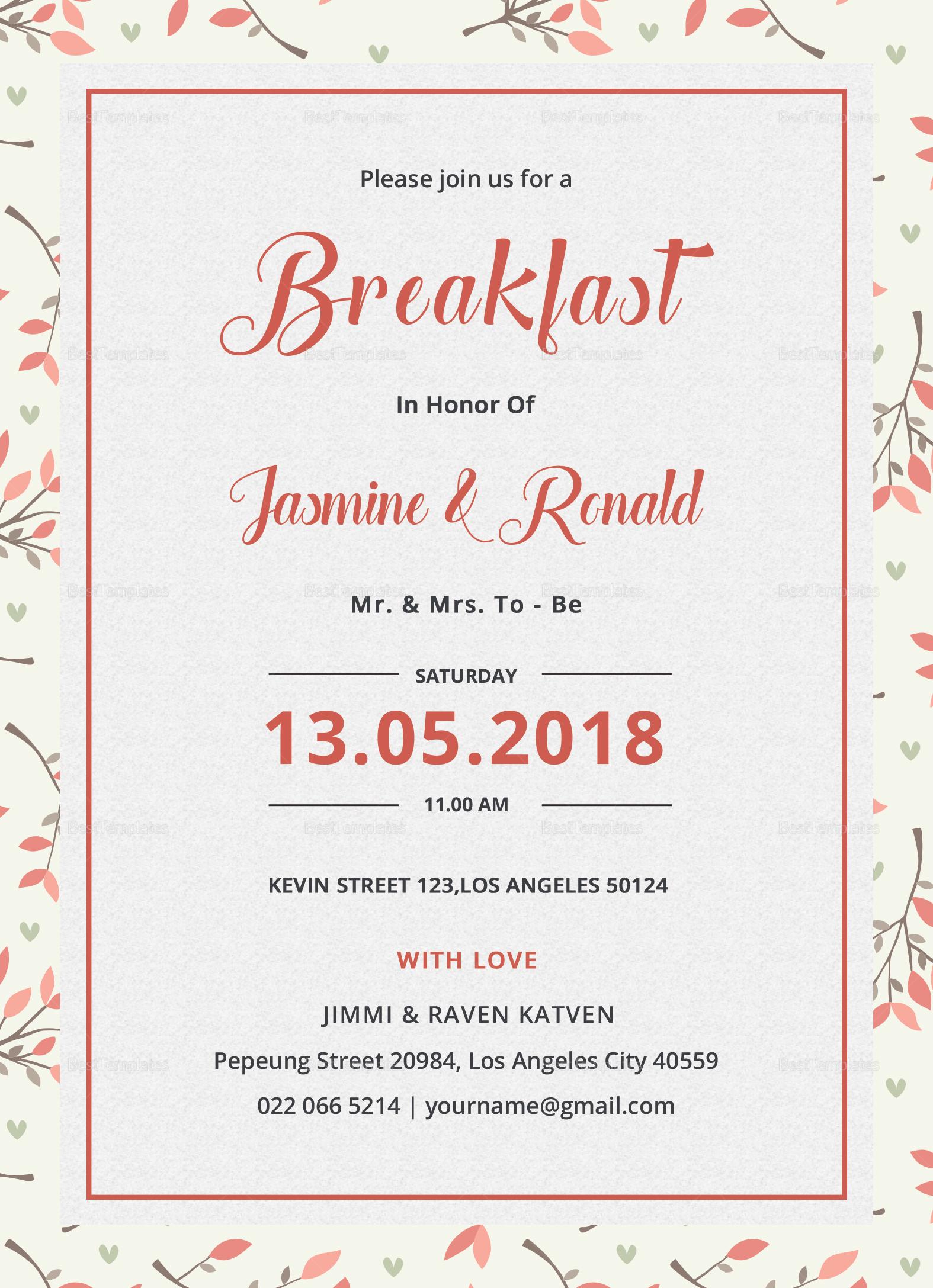 Breakfast Invitation Design