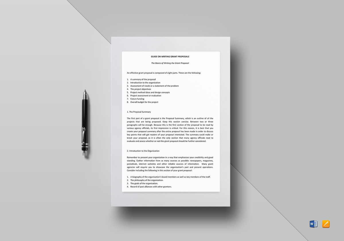 Writing the Grant Proposal Template