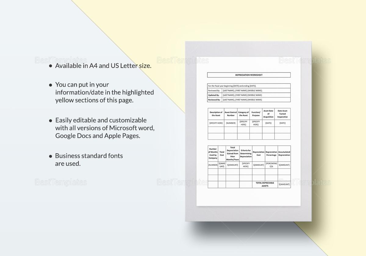 Depreciation Worksheet Template
