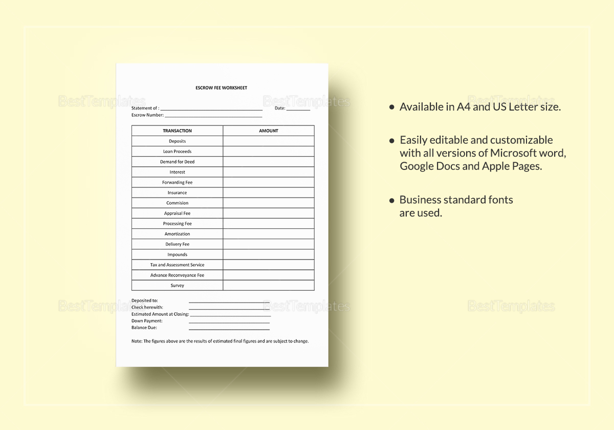Worksheet Escrow Fees Template