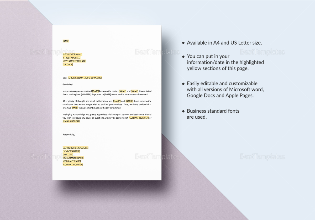 Decline Extension of Agreement Template