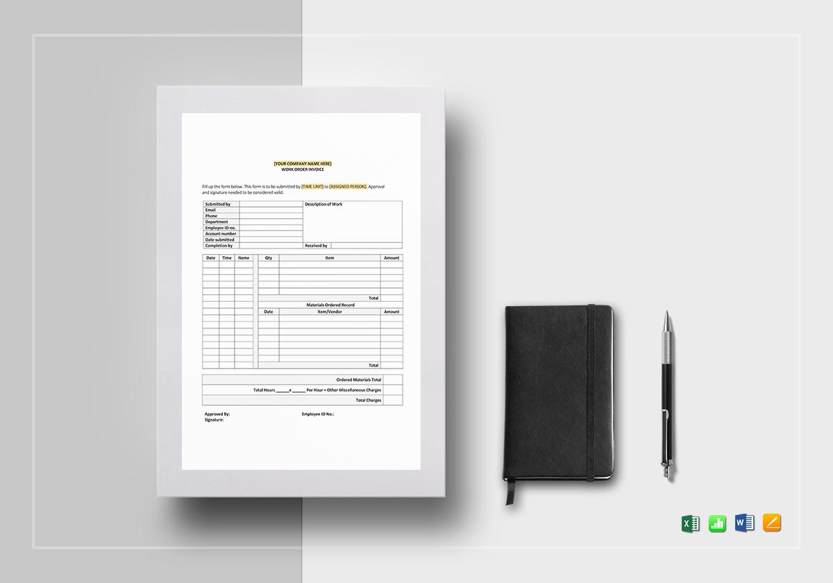 work order invoice template in word excel google docs. Black Bedroom Furniture Sets. Home Design Ideas