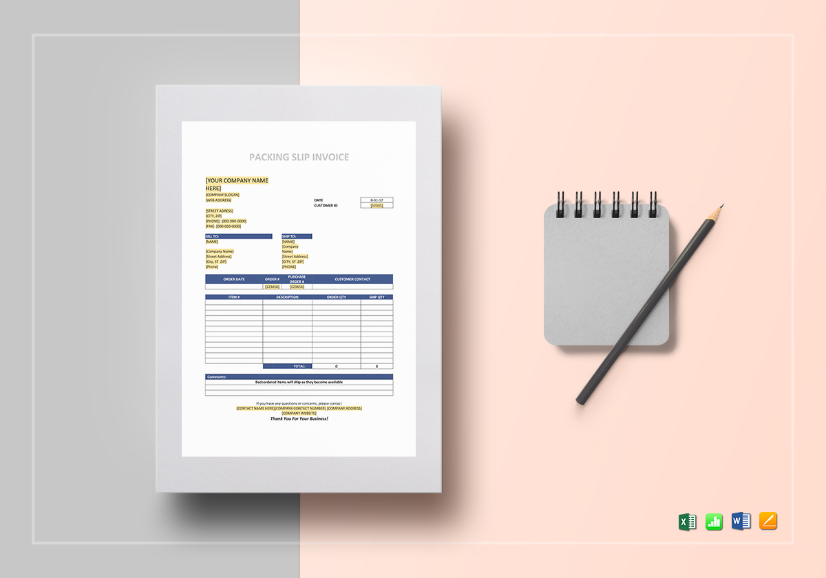 Packaging Slip Invoice Template