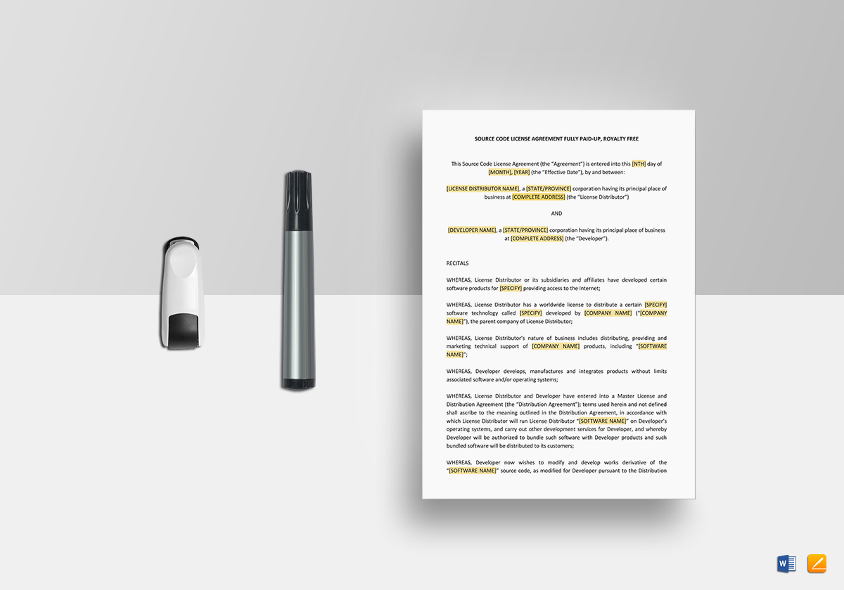 Source Code License Agreement Template