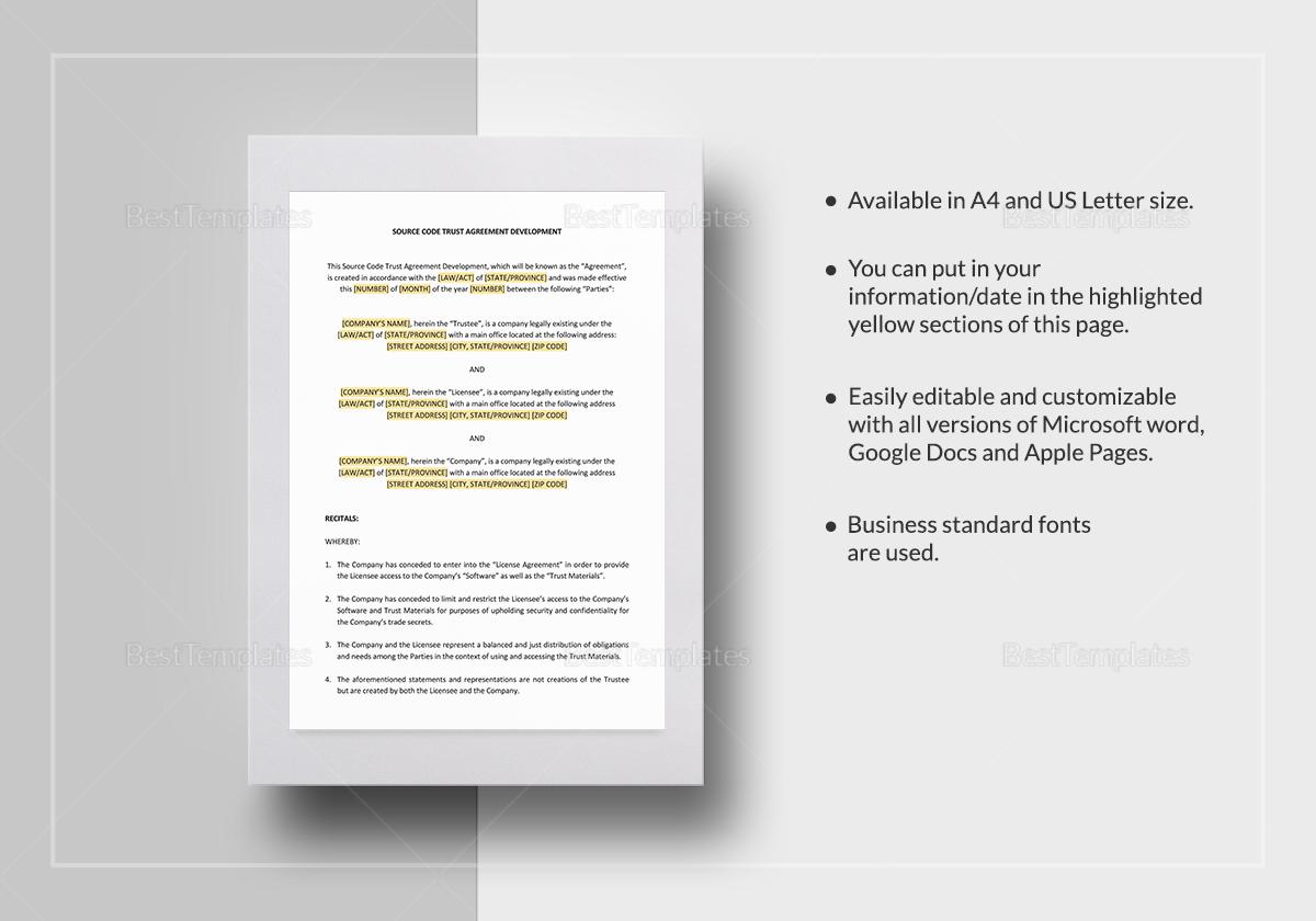Source Code Trust Agreement Development Template