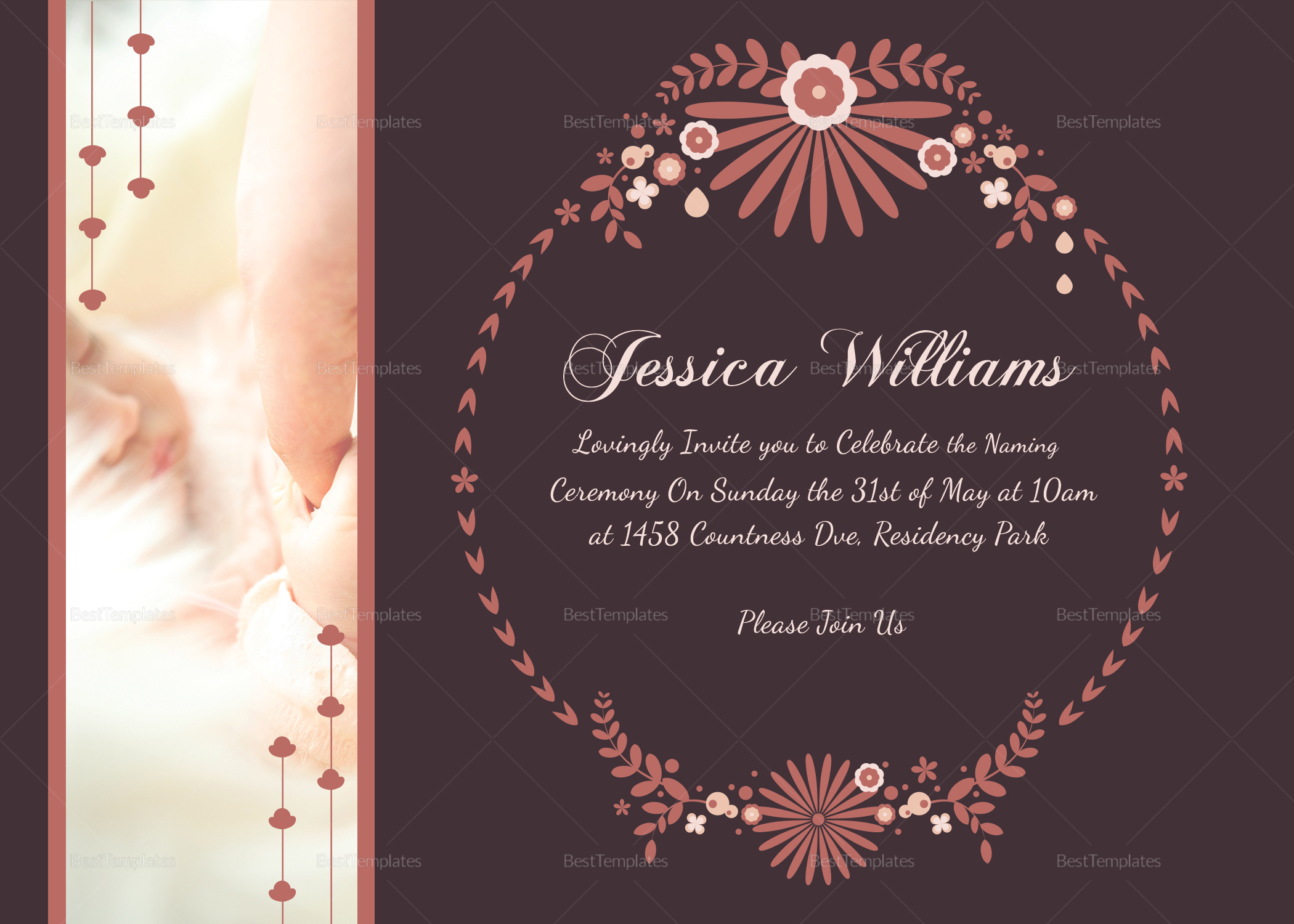 Prosperous Baby Naming Ceremony Invitation Card Template