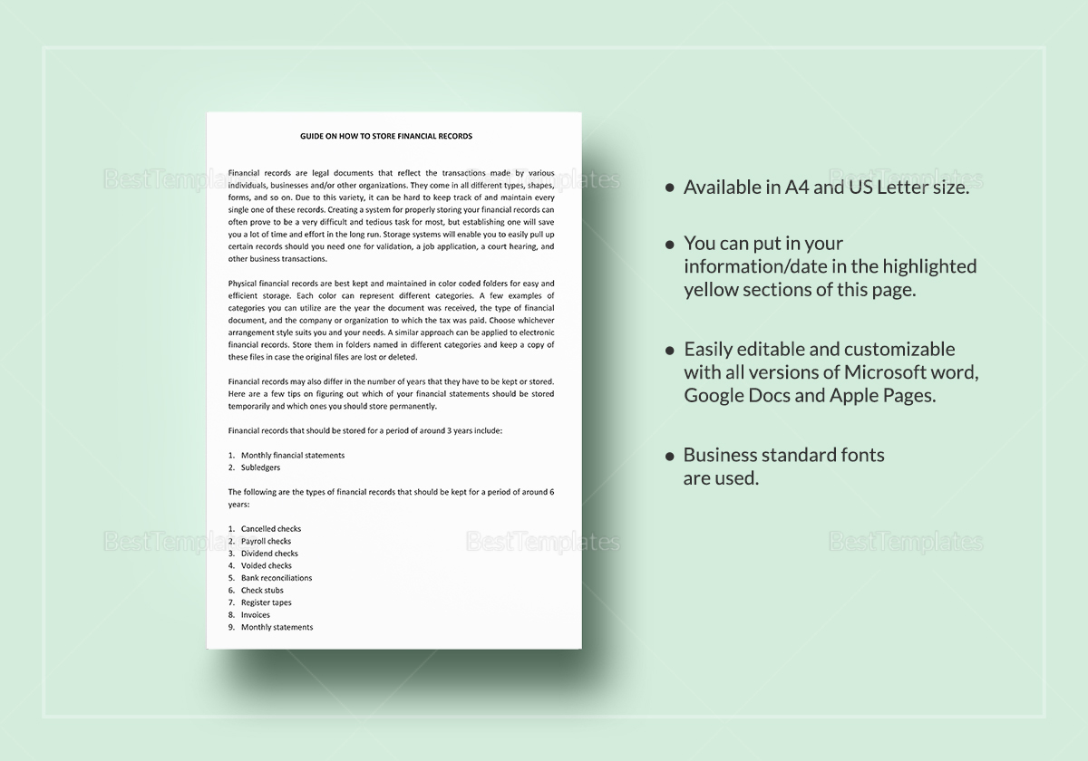 Financial Record Storage Guidelines Template