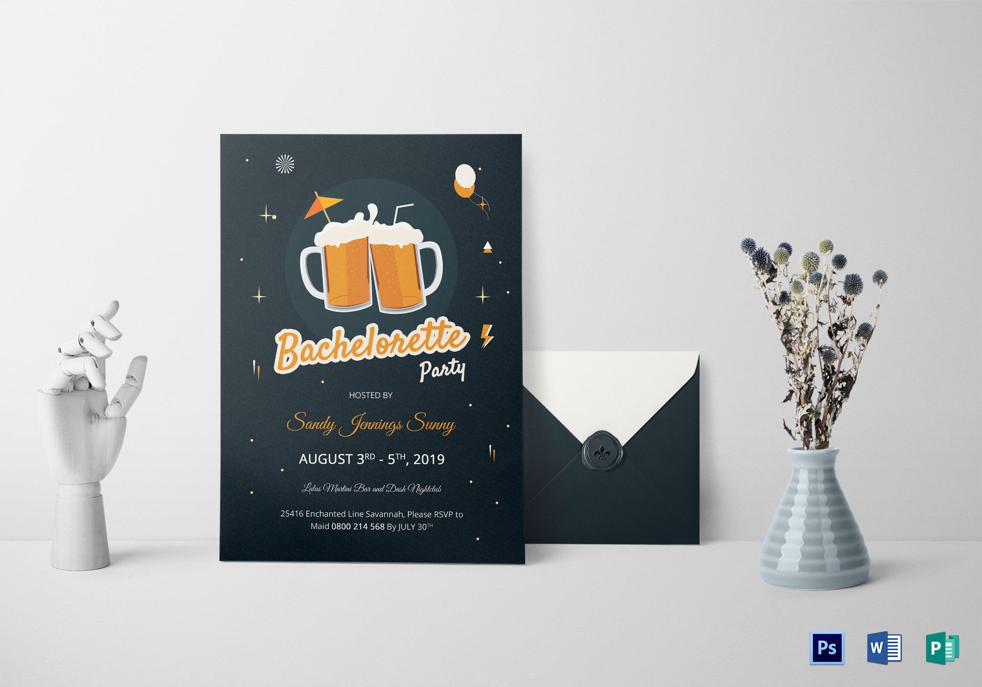 Cute Bachelorette Party Invitation Template