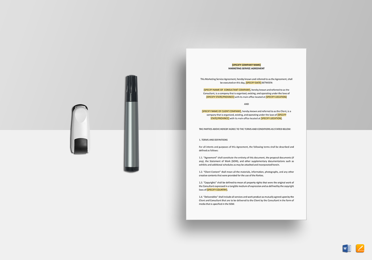 Marketing Services Agreement Template in Word, Google Docs, Apple Pages
