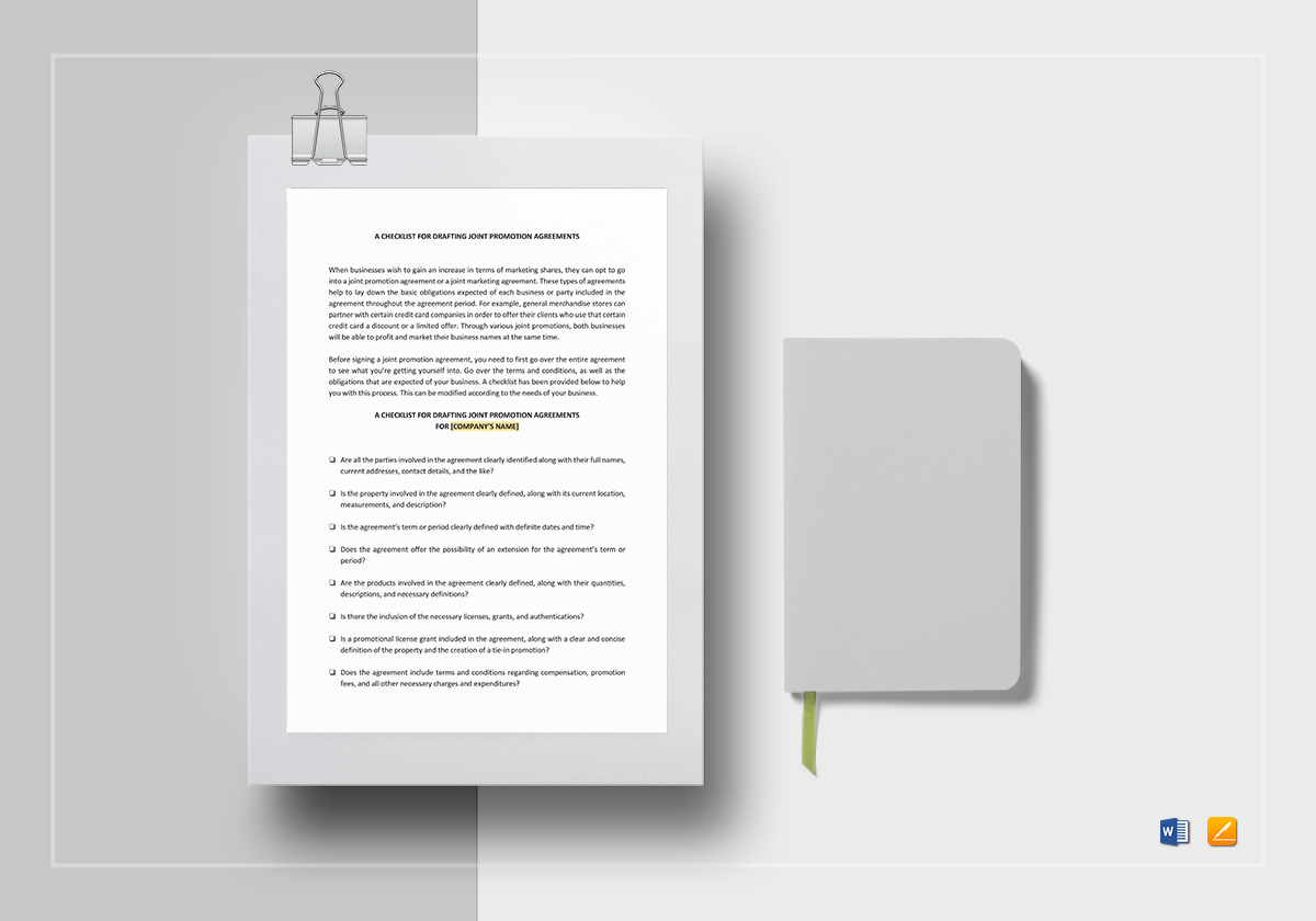 Checklist Drafting Joint Promotion Agreements Template in Word ...