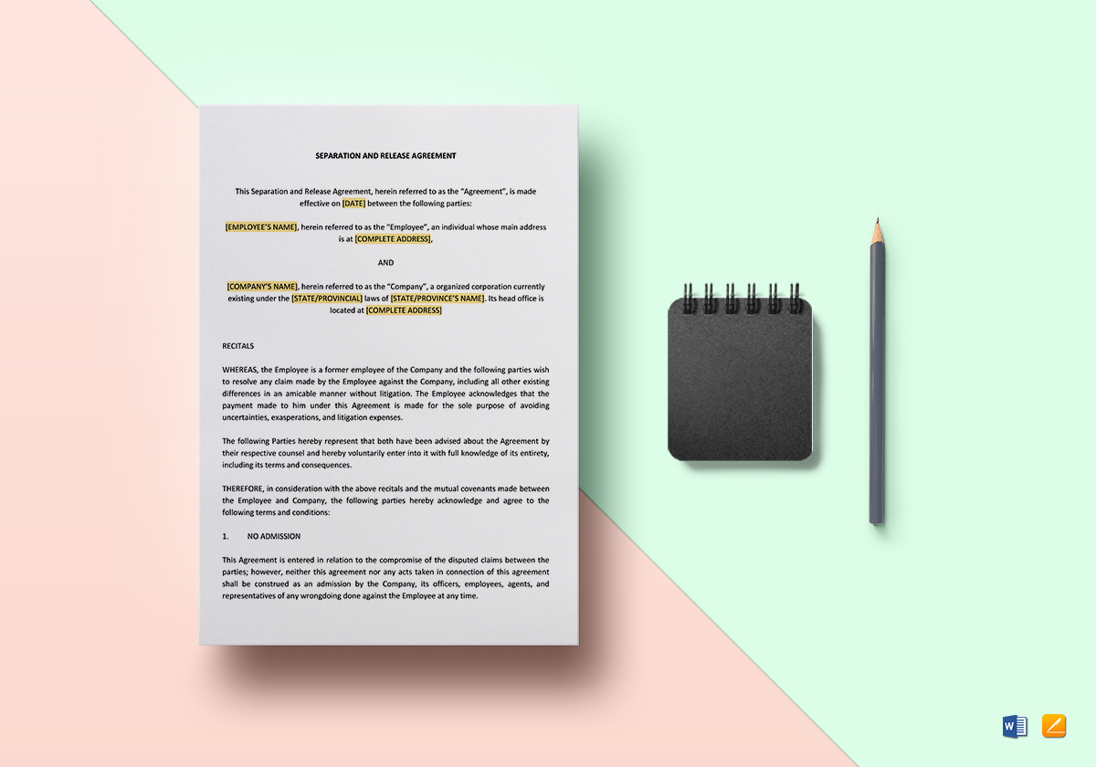 Separation and Release Agreement Template