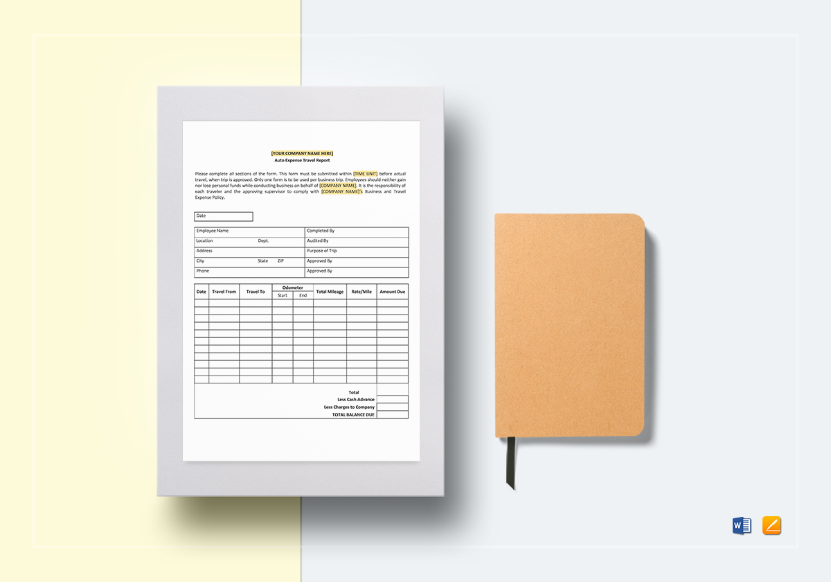 Auto Expense Travel Report Template