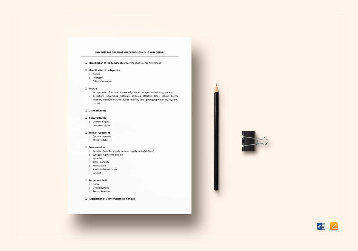 Checklist Drafting Merchandising License Agreements Template In Word