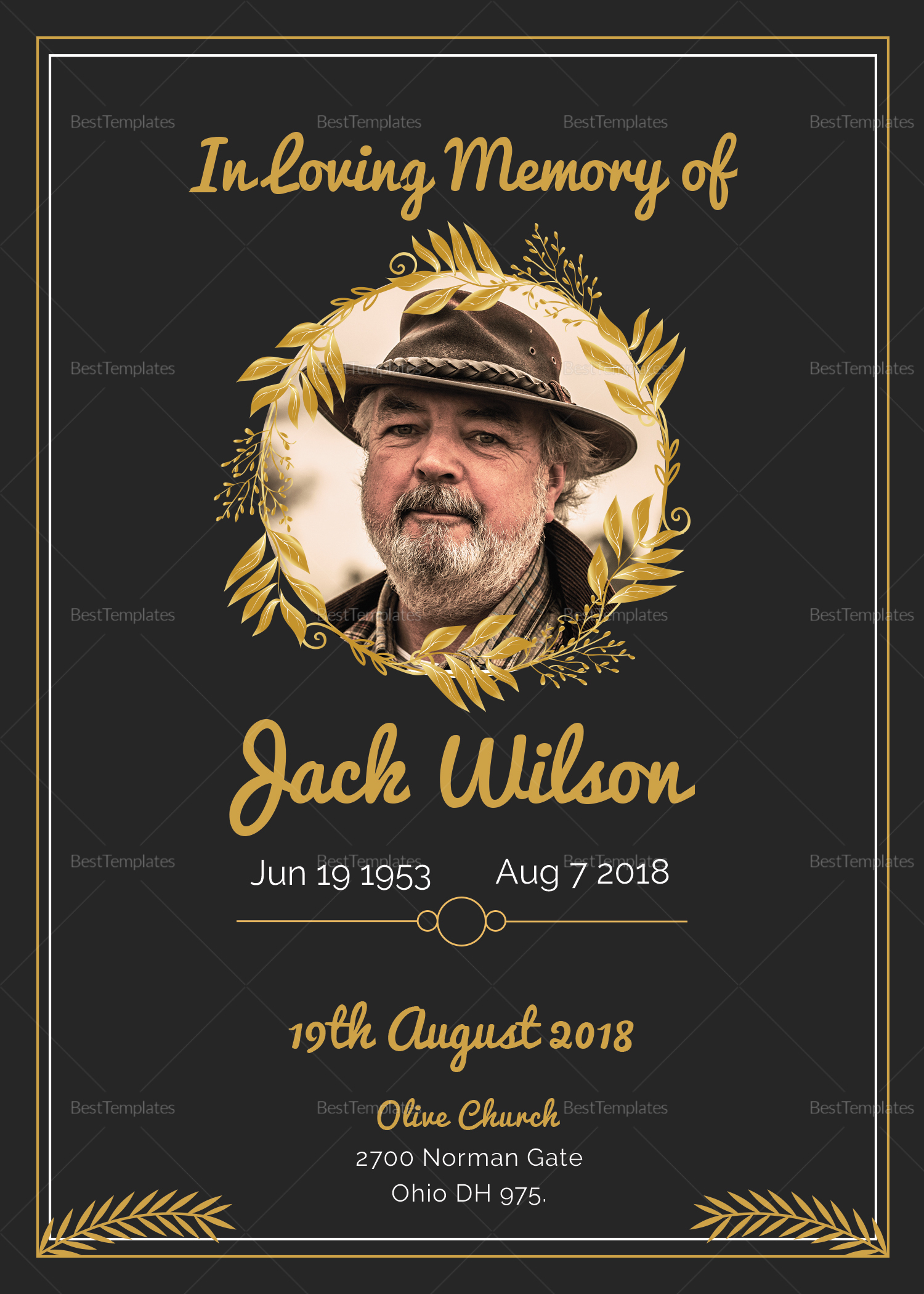 Funeral Invitation Card Design