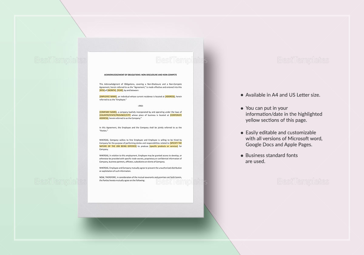 Acknowledgement of Obligations Template