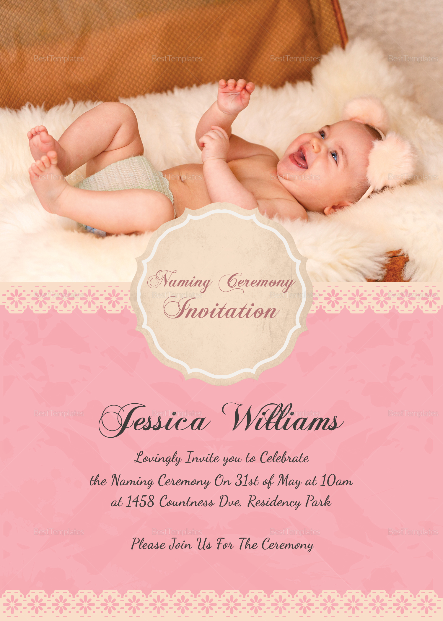 Happy Baby Naming Ceremony Invitation Card Template