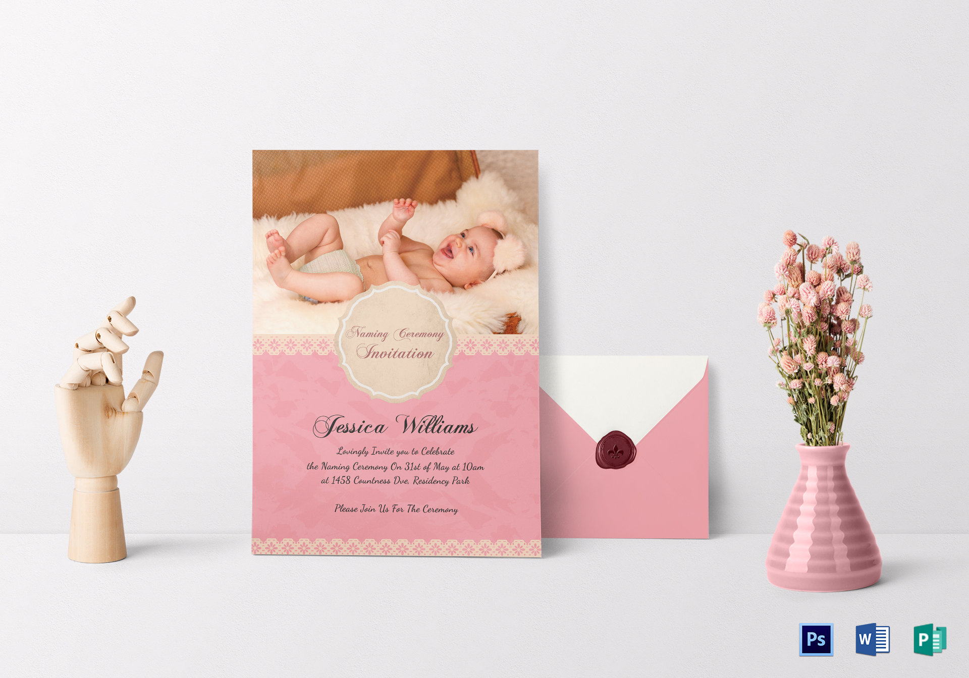 Happy Baby Naming Ceremony Invitation Card Design Template In Psd