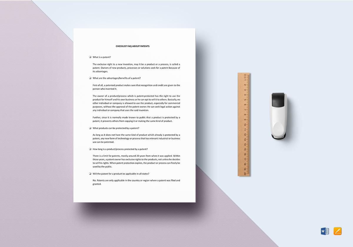 Checklist FAQ About Patents