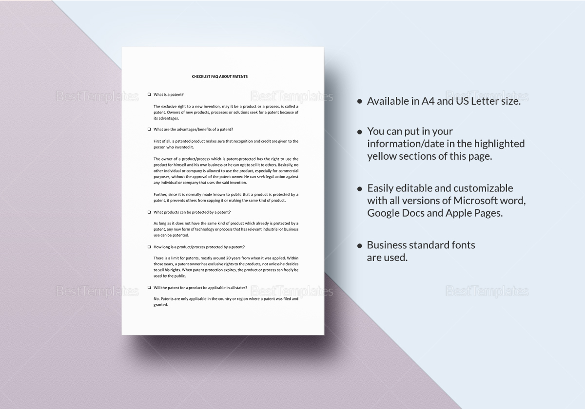 Checklist Faq About Patents Template In Word Google Docs Apple Pages