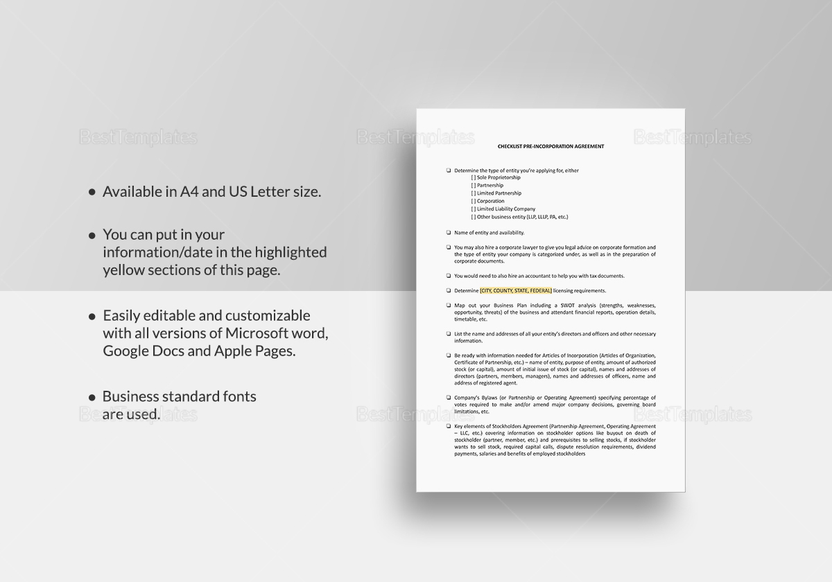 Checklist Pre-Incorporation Agreement Template