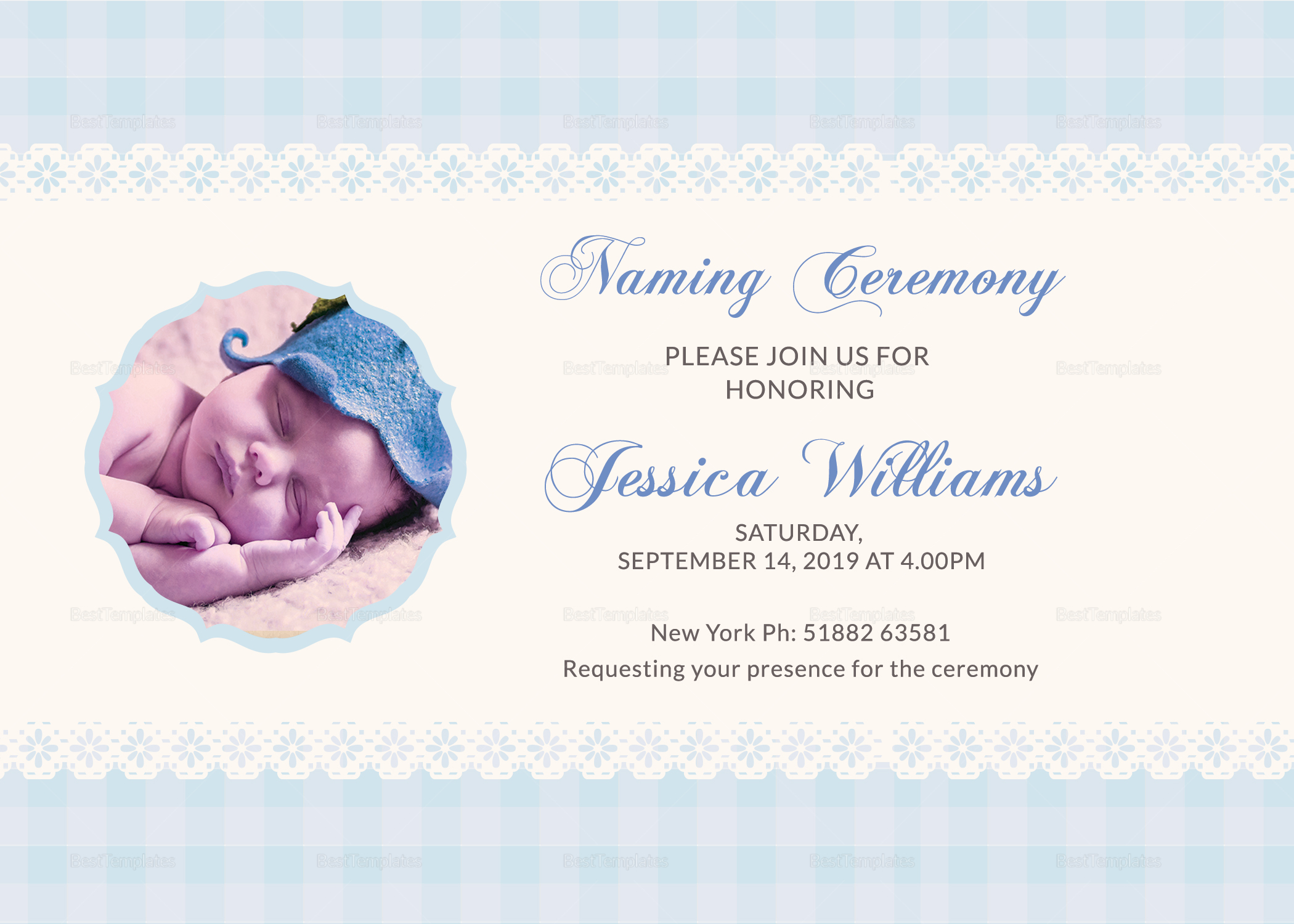 ... Wonderful Baby Naming Ceremony Invitation Card Template