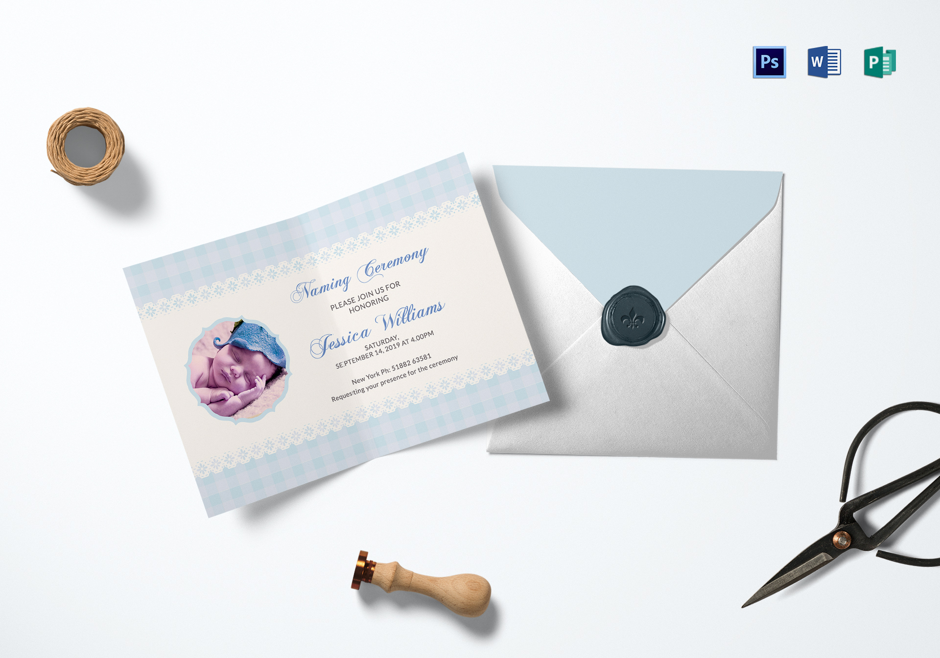 Wonderful Baby Naming Ceremony Invitation Card Design Template In