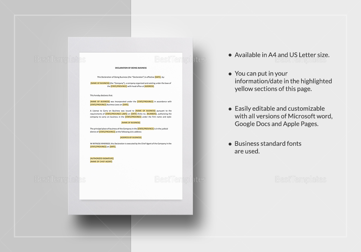 Declaration of Doing Business Template