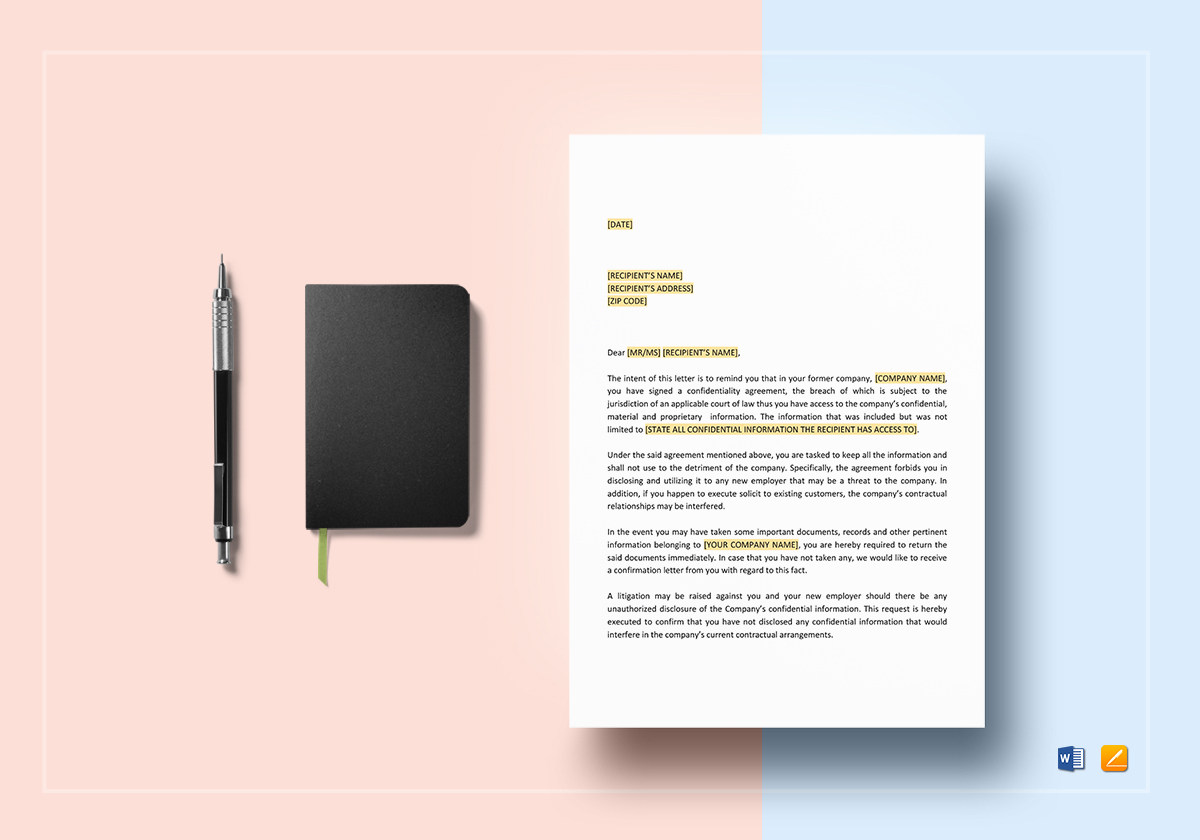 reminder letter confidentiality letter or former letter template in