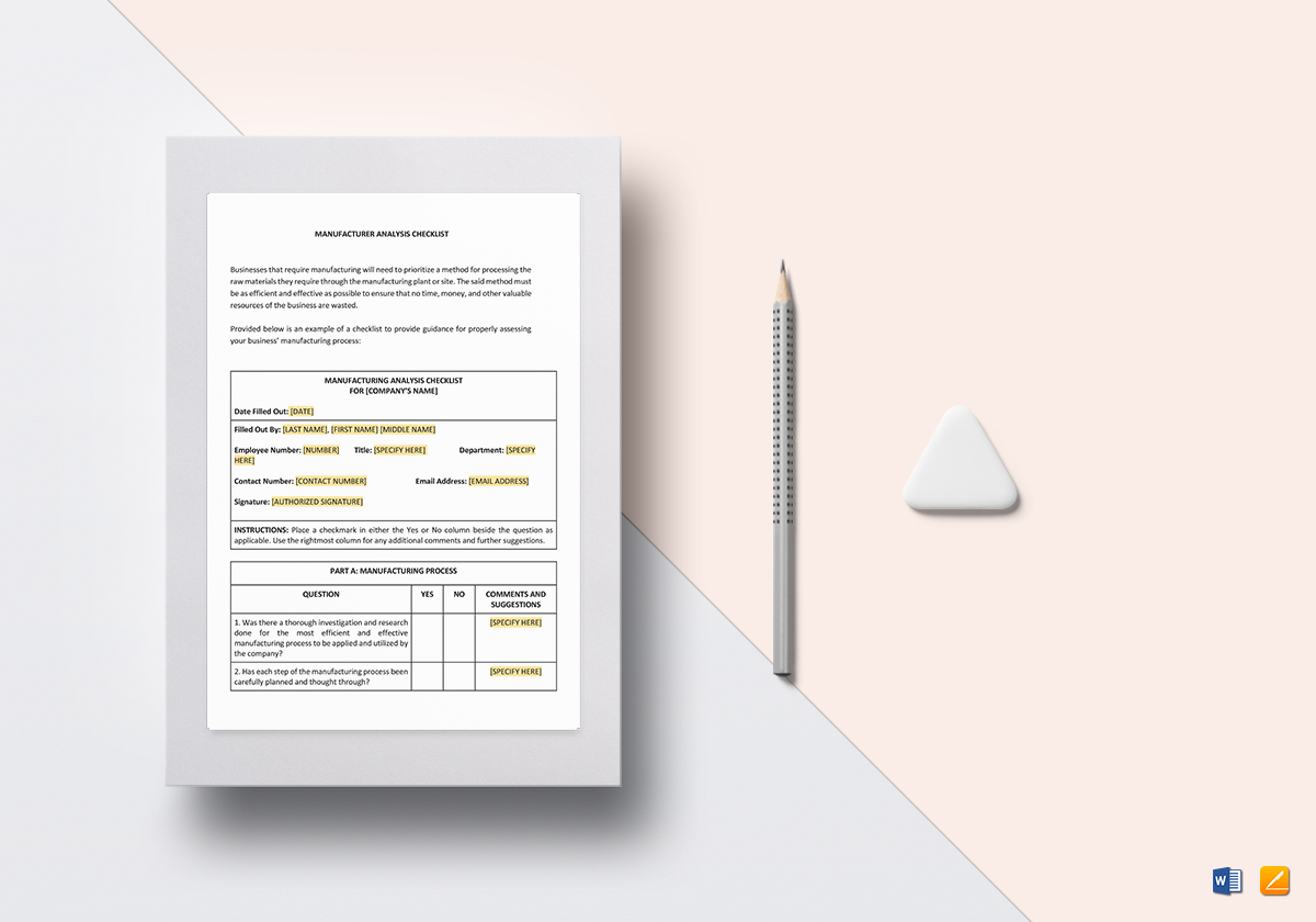Checklist Manufacturer Analysis Template In Word Google Docs Apple